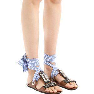 NEW Prada Studded Bow Tie Sandals (7)